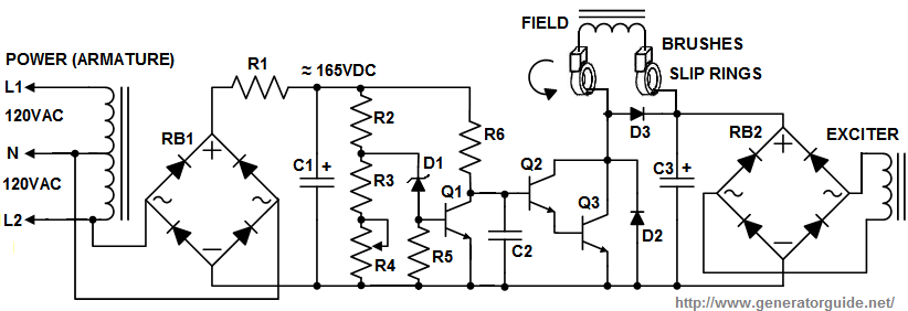automatic voltage regulator (avr) for generators,Wiring diagram,Wiring Diagram 3 Phase Generator Excitor